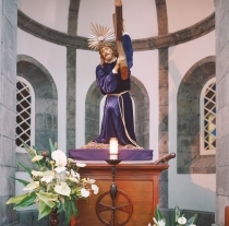 This beautiful statue inside of the church was very dimly lit. I used a Sekonic electronic meter. Very moving.