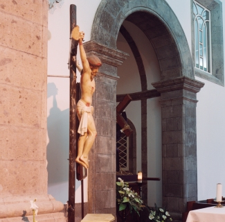 Another beautiful depiction of Jesus on the Cross in the church. Life in Villa Franca is interwoven completely with its church.