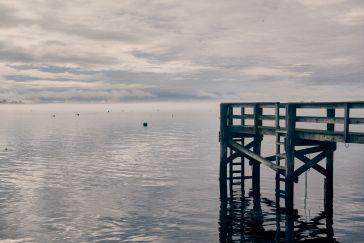 Bristol Harbor and faint sea fog.