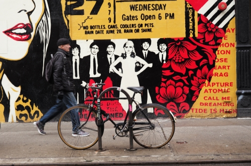 A Debbie Harry street collage in the Bowery